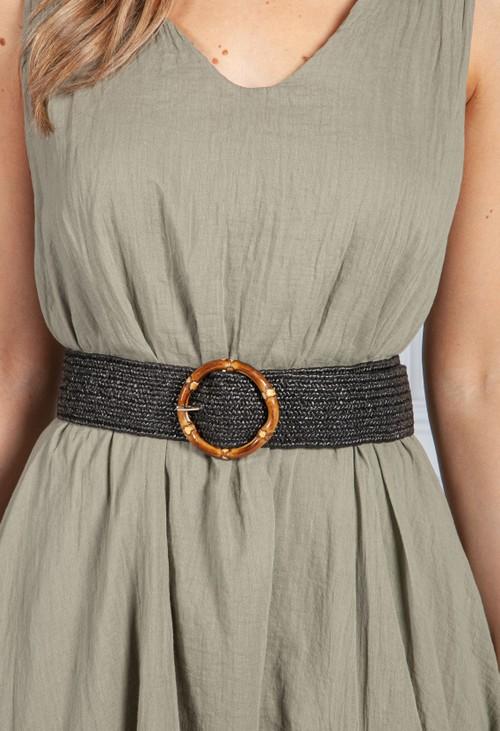 PS Accessories Black Wicker Buckle Belt