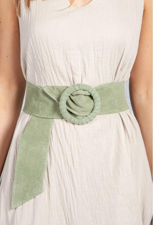 PS Accessories Green Suede Belt