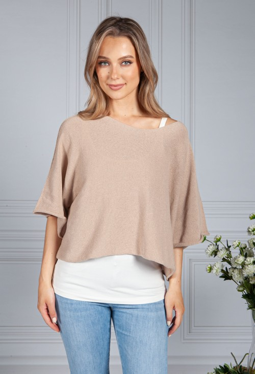 Sophie B Cotton Summer Pullover in toffee