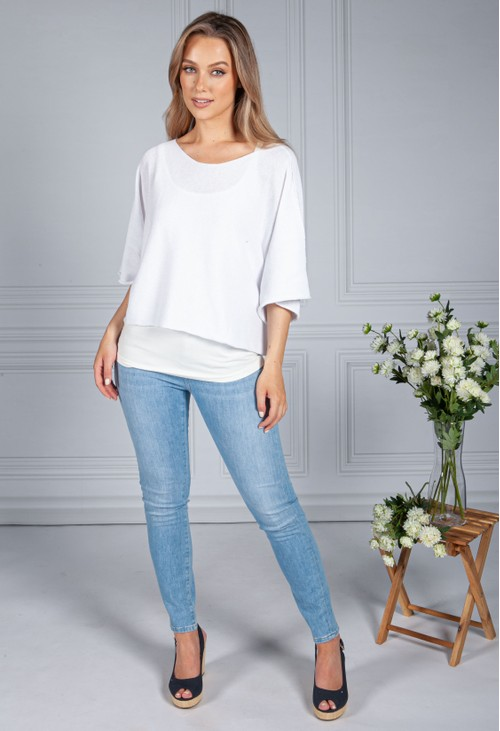 Sophie B Cotton Summer Pullover in White