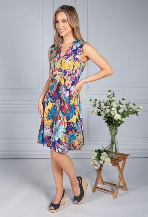 Zapara Palm Print Dress in Violet