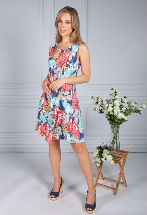 Zapara Mixed Palm Print Dress in Denim Blue