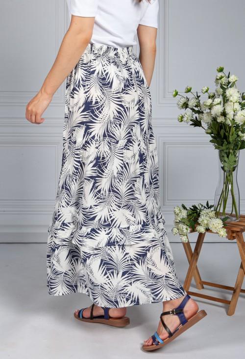 Pamela Scott Palm Print Skirt in Navy