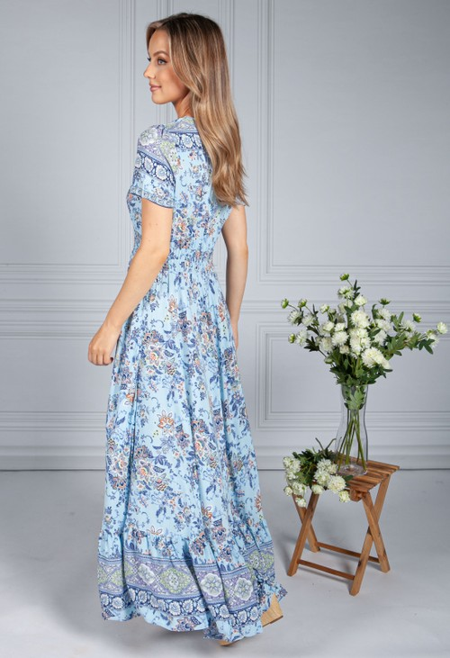 Pamela Scott Blue and Navy Vintage Print Dress