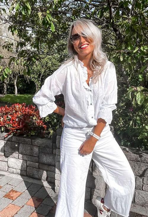 Pamela Scott White Textured Polka Dot Blouse