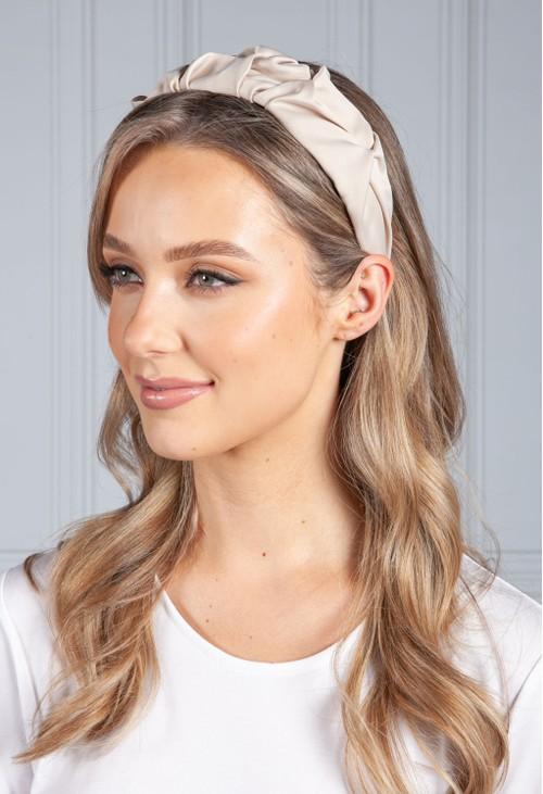 PS Accessories Beige Ruffle Headband