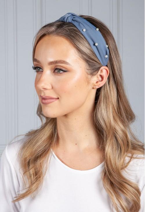 PS Accessories Denim Blue Pearl Headband