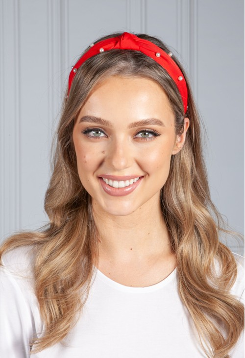 PS Accessories Ruby Red Pearl Headband