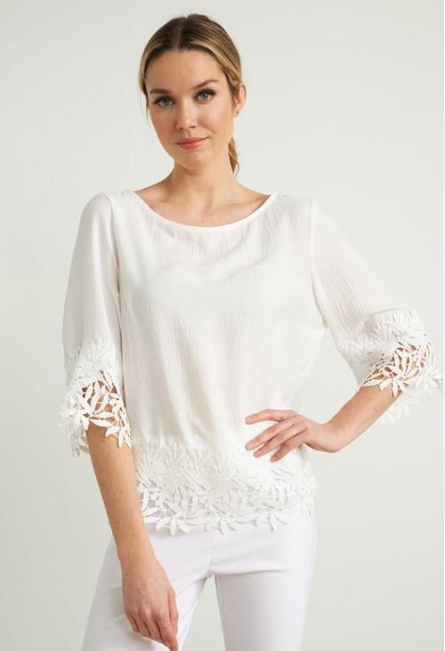 Joseph Ribkoff White Crochet Top