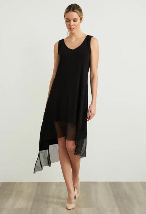 Joseph Ribkoff Sheer Asymmetric Hem Dress
