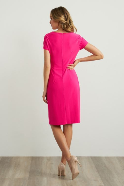 Joseph Ribkoff Gathered Front Dress in Pink