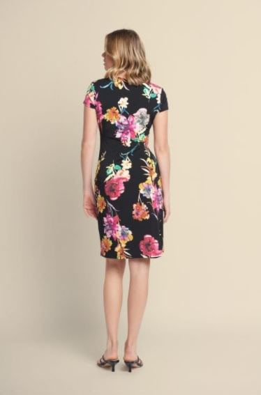 Joseph Ribkoff Multi Floral Print Dress in Black