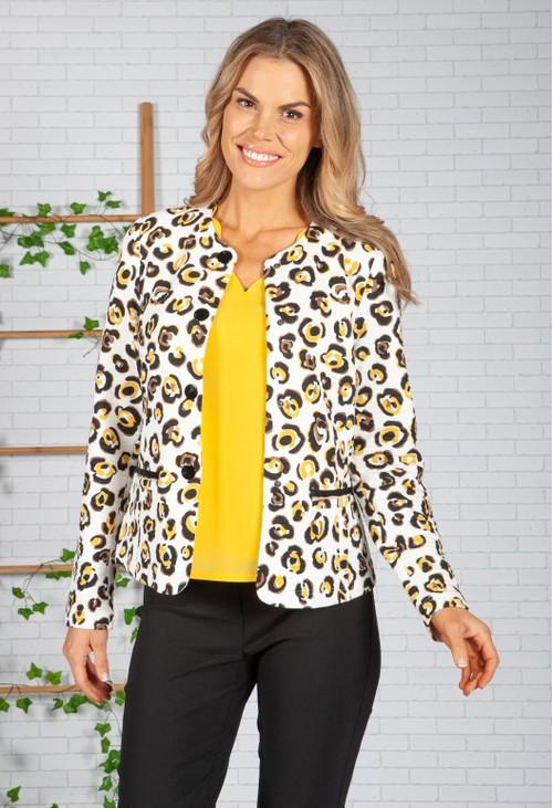 Frank Walder Light Leopard Print Jacket with Pockets