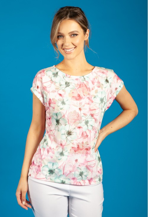 Bicalla Pink and Misty Green Floral Print Top