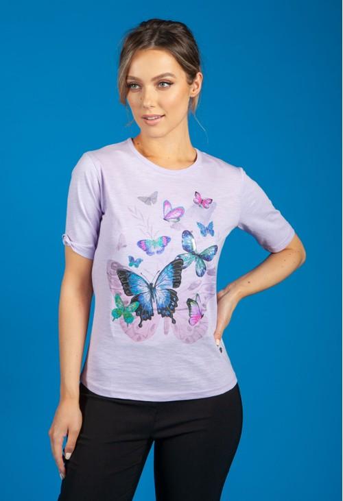 Bicalla Purple Butterfly Print Top