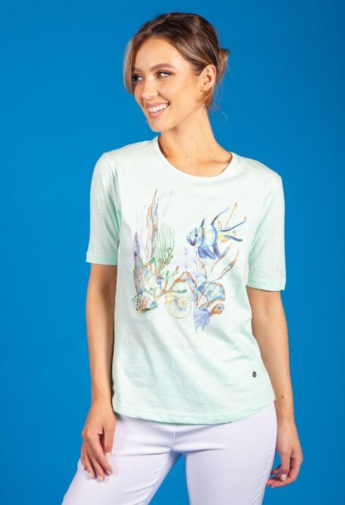 Bicalla Mint Sea Print Top