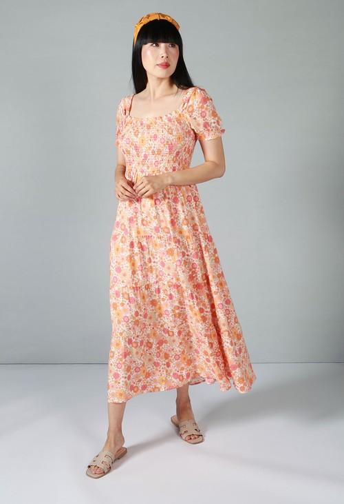 Pamela Scott Orange Blossom Dress with Smocking Bodice