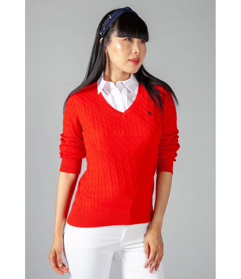 Twist Red Cable Knit V Neck Jumper