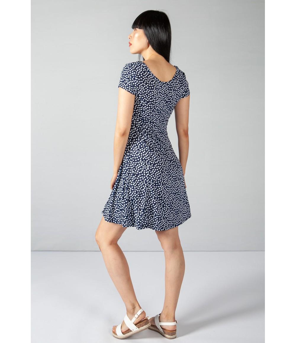Zapara Mini Polka Dot Print Dress