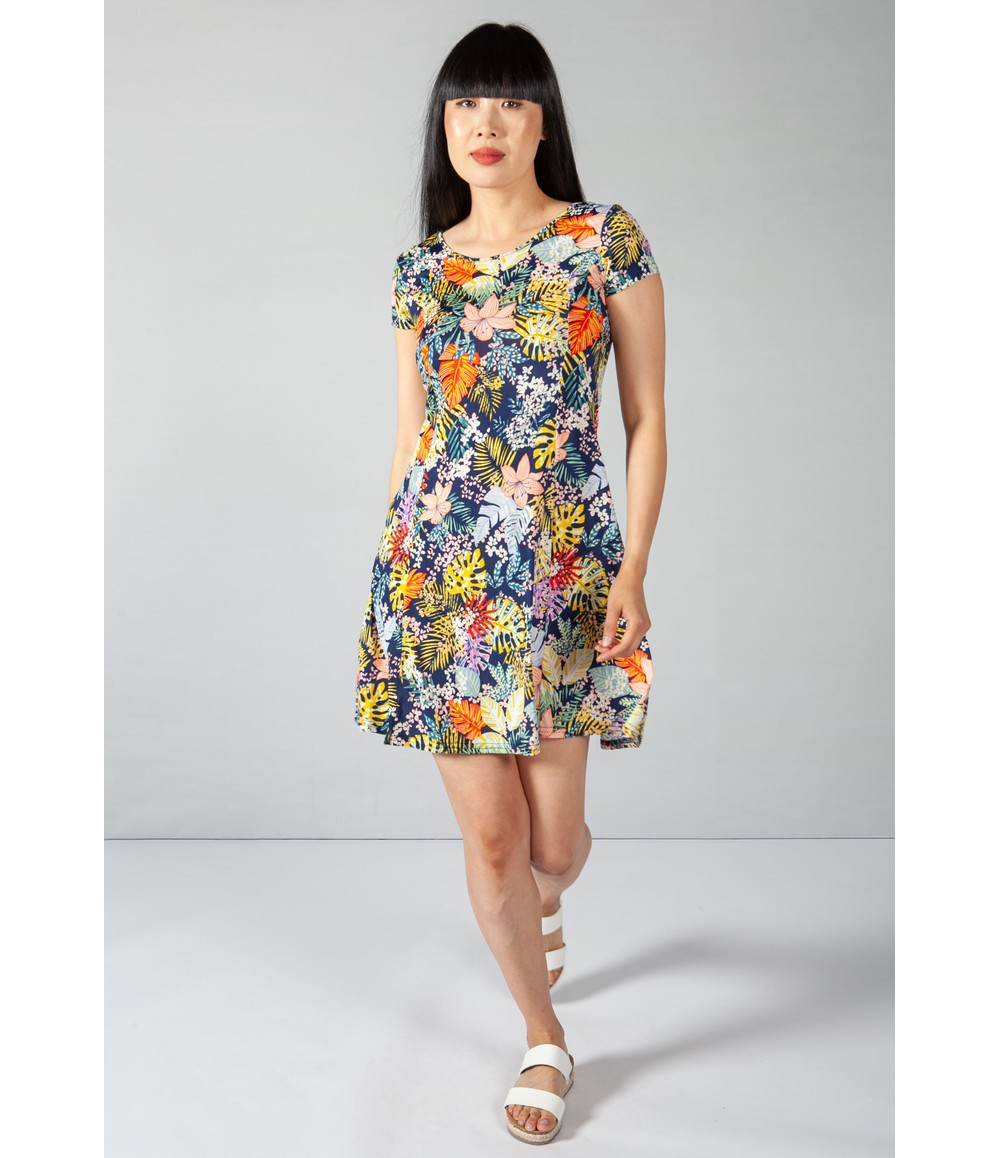 Zapara Navy and Yellow Tropical Print Dress