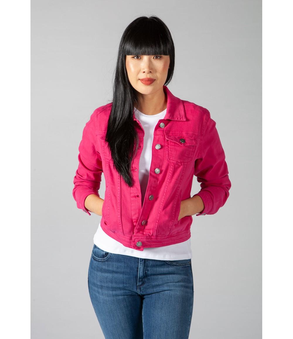 Zapara Summer Denim Jacket in Bright Fuchsia