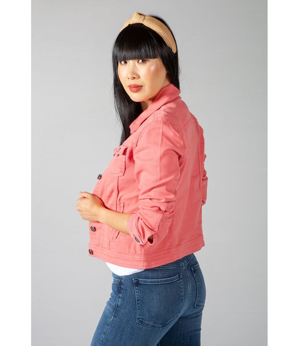 Zapara Summer Denim Jacket in Coral Pink