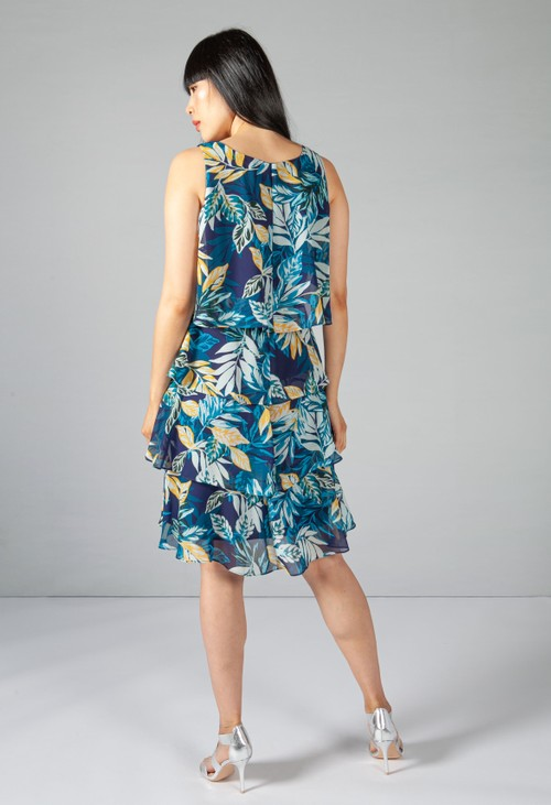 Pamela Scott Indigo Palm Print Layered Dress