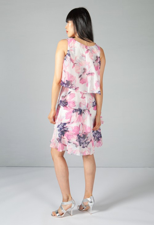 Pamela Scott Pink Floral Layered Dress