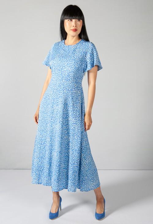Pamela Scott Soft Blue Animal Print Dress