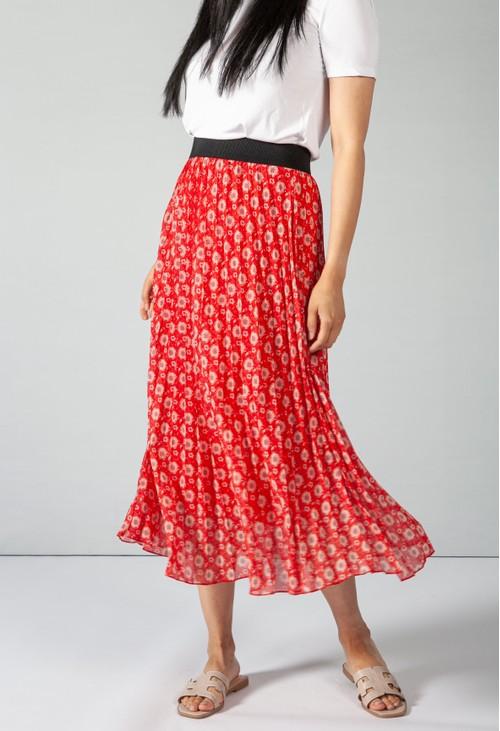 Pamela Scott Vintage Print Ruby Red Skirt