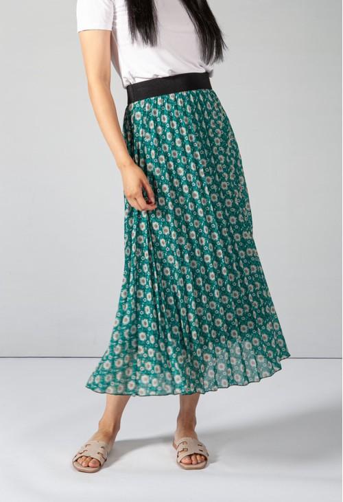 Pamela Scott Vintage Print Green Skirt