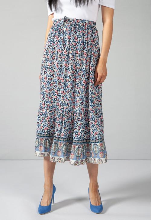 Pamela Scott Mini Bloom Print Skirt in Navy