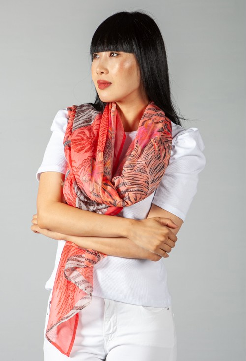 Betty Barclay Coral Printed Scarf