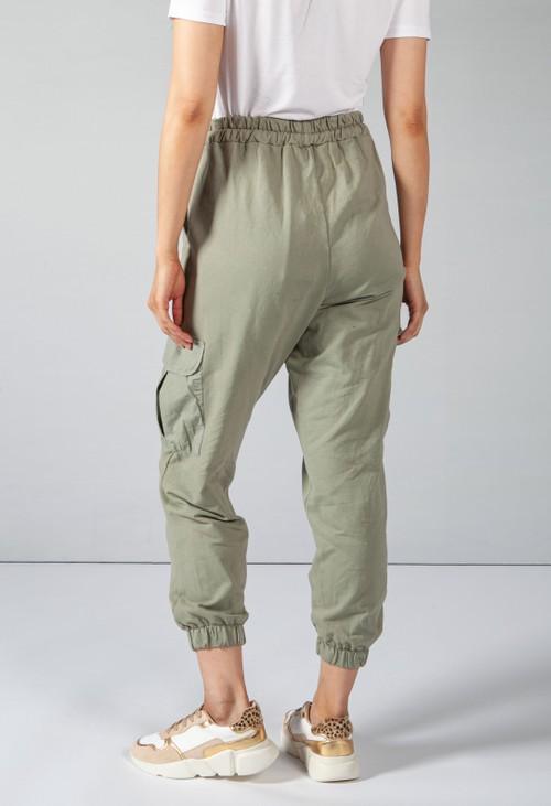 Pamela Scott Khaki Cargo Pocket Soft Jersey Jogger