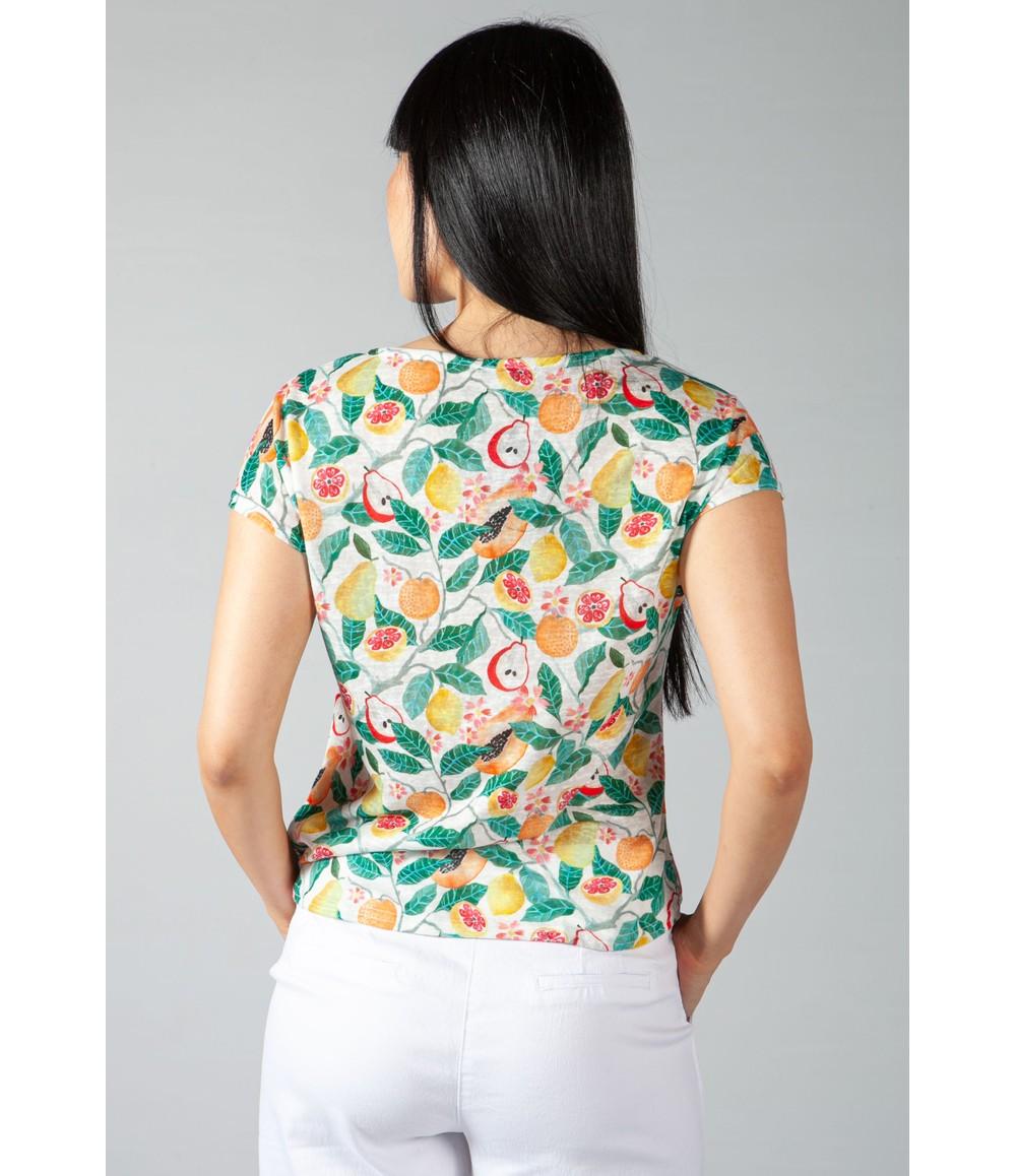 Sophie B Lemon Print Top with Shoulder Detail