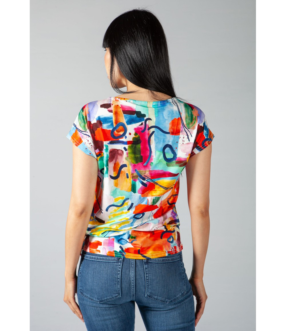 Zapara Abstract Print Top with Shoulder Detail
