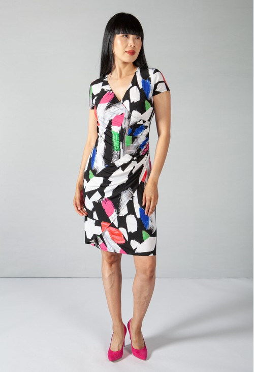 Joseph Ribkoff Multi Floral Print Dress in White