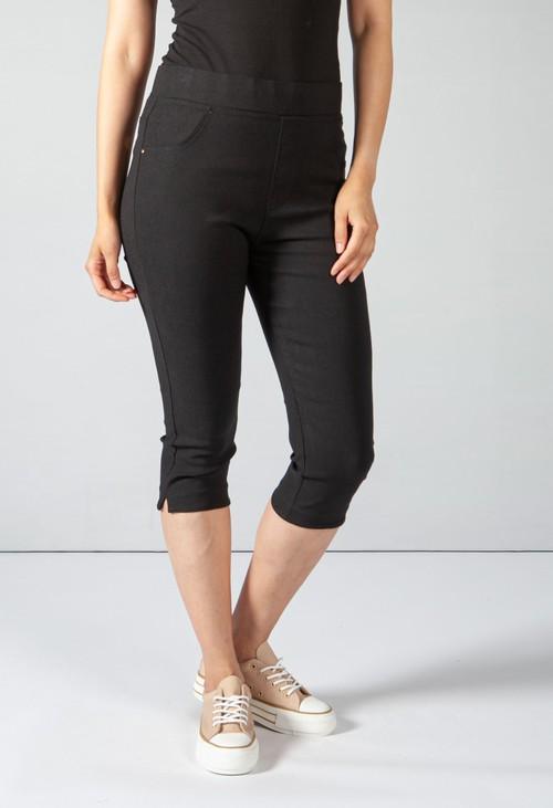Pamela Scott Cropped Pull Up Jeans on Black