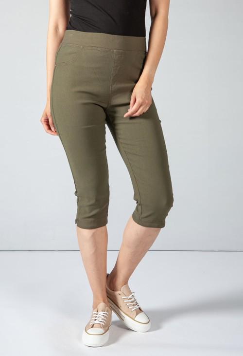 Pamela Scott Cropped Pull Up Jeans on Khaki