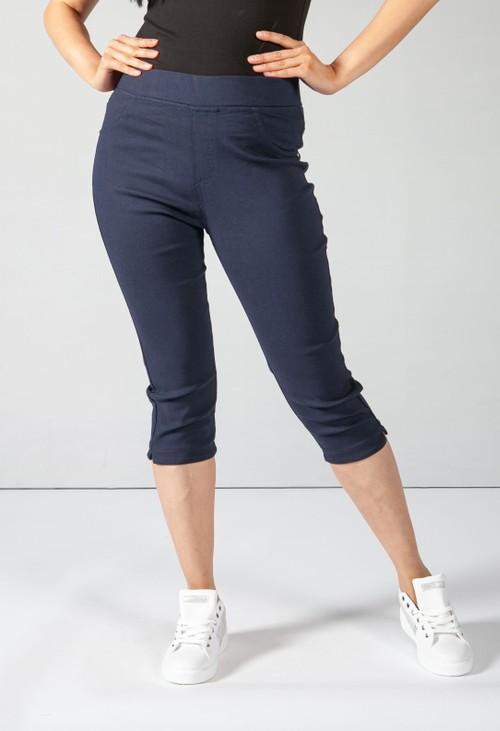 Pamela Scott Cropped Pull Up Jeans on Navy