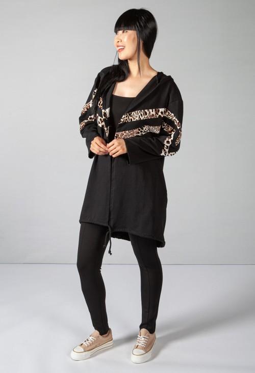 Zapara Leopard Sleeves 3/4 Length Coat