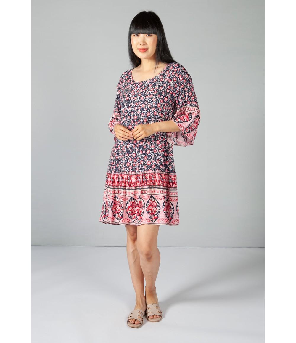 Pamela Scott Floral Print Frill Dress