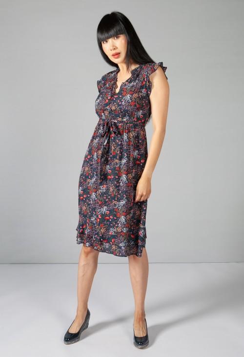 Pamela Scott Navy Mini Blossom Print Dress