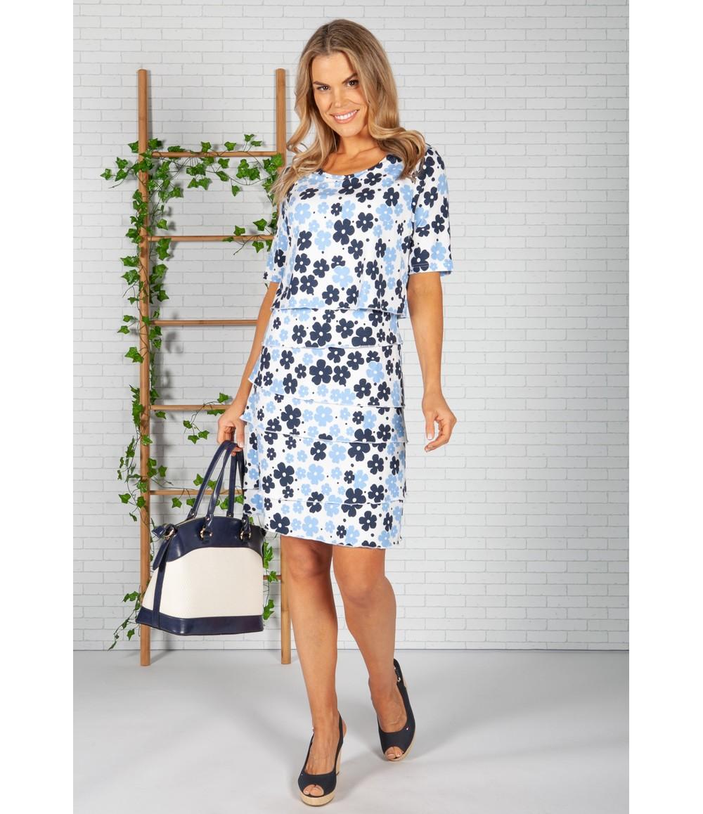 Frank Walder Blue Pop Floral Print Dress