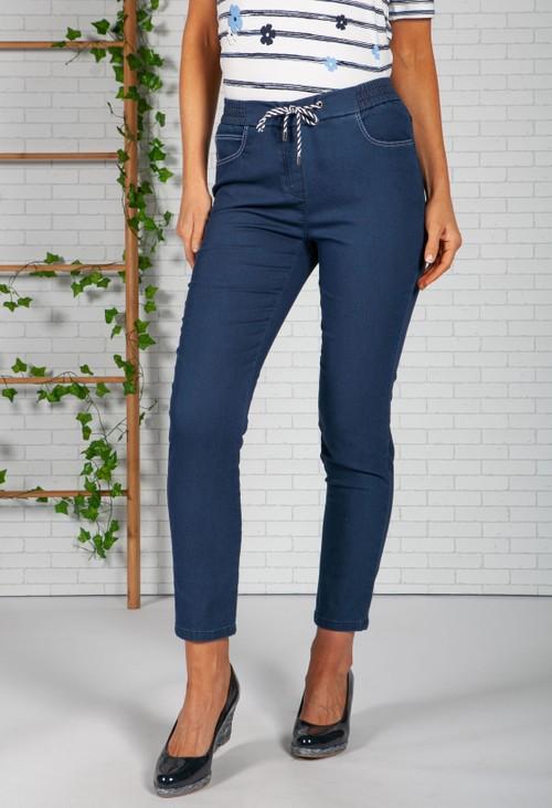 Frank Walder Deep denim Tie Front Trousers