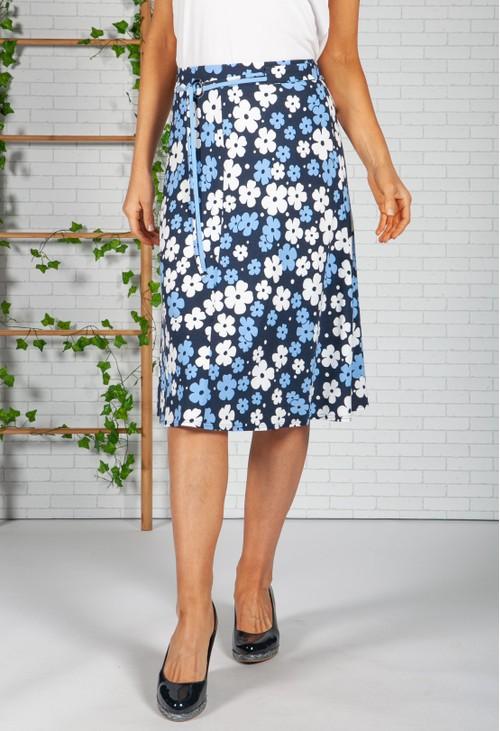 Frank Walder Navy Pop Floral Print Skirt