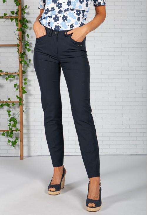 Frank Walder Navy Brenda Slim Leg Trousers