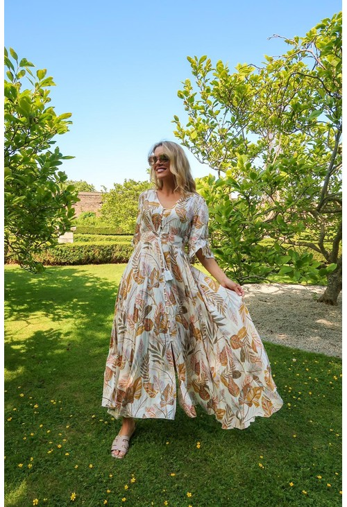 Pamela Scott Beige Palm Print Dress