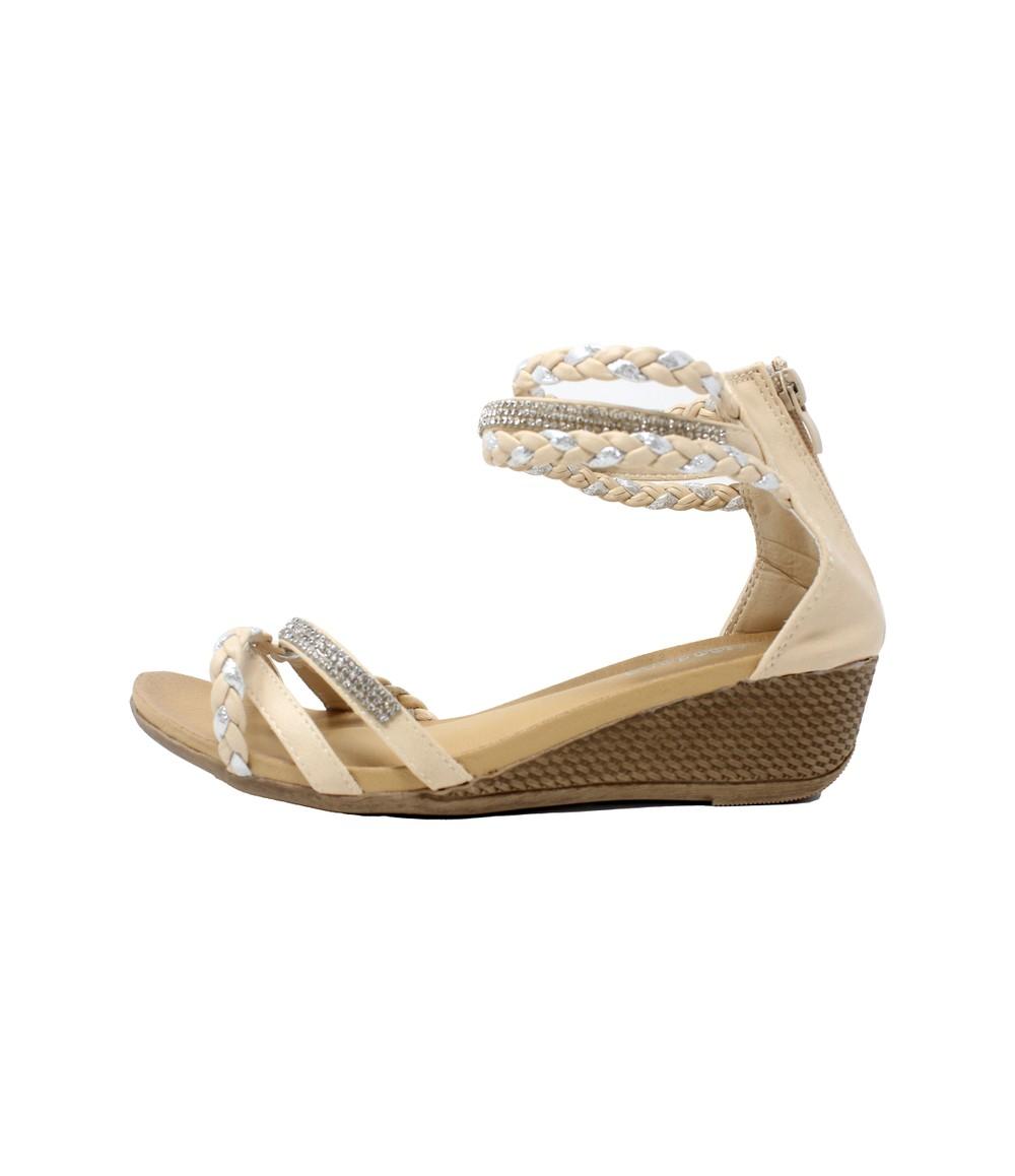 Shoe Lounge Beige Lightweight Ankle Strap Wedge Sandal
