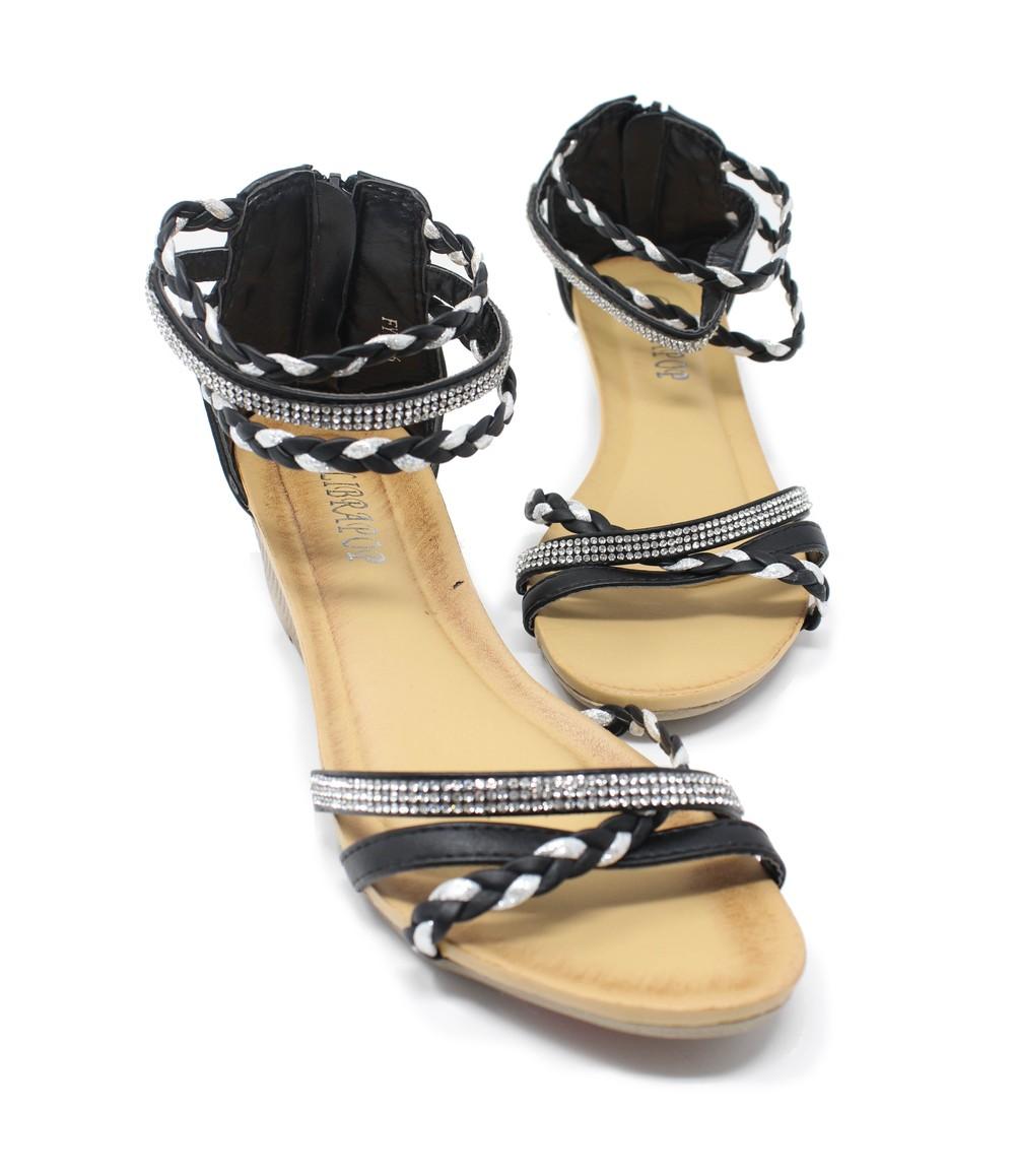Shoe Lounge Black Lightweight Ankle Strap Wedge Sandal